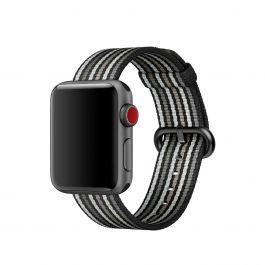 Apple – 38 mm-es, fekete csíkos szőtt műanyag szíj
