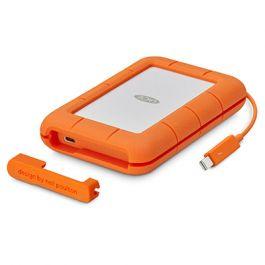 Lacie - Rugged  4TB-os USB-C hordozható merevlemez, integrált Thunderbolt kábellel