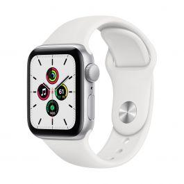 Apple Watch SE GPS – 40 mm-es ezüstszínű alumíniumtok, fehér sportszíj
