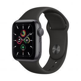 Apple Watch SE GPS – 40 mm-es asztroszürke alumíniumtok, fekete sportszíj