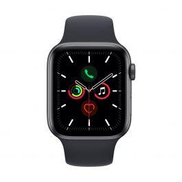 Apple Watch SE GPS, 44 mm-es asztroszürke aluminium tok, éjfekete sportszíj