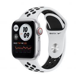 Apple Watch SE Nike GPS + Cellular – 40 mm-es ezüstszínű alumíniumtok, platinaszín-fekete sportszíj