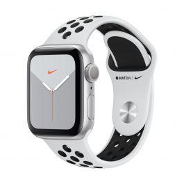 Apple Watch Series 5 Nike+ GPS, 40 mm-es, ezüstszínű alumíniumtok platinaszín-fekete sportszíjjal