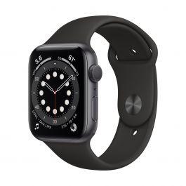 Apple Watch Series 6 GPS – 44 mm-es asztroszürke alumíniumtok, fekete sportszíj