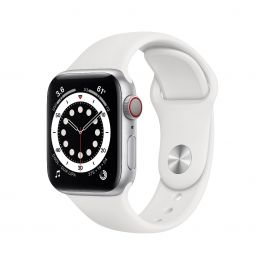 Apple Watch Series 6 GPS + Cellular – 40 mm-es ezüstszínű alumíniumtok, fehér sportszíj