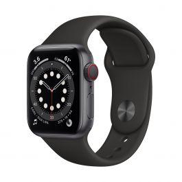 Apple Watch Series 6 GPS + Cellular – 40 mm-es asztroszürke alumíniumtok, fekete sportszíj
