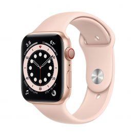 Apple Watch Series 6 GPS + Cellular – 44 mm-es aranyszínű alumíniumtok, rózsakvarcszínű sportszíj