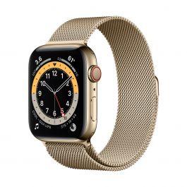 Apple Watch Series 6 GPS + Cellular – 40 mm-es aranyszínú rozsdamentesacél tok, aranyszínű milánói szíj