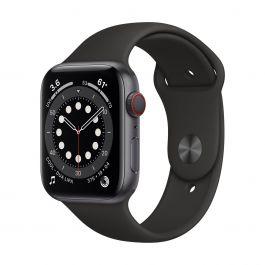 Apple Watch Series 6 GPS + Cellular – 44 mm-es asztroszürke alumíniumtok, fekete sportszíj
