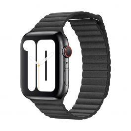 Apple – 44 mm-es fekete bőrszíj – közepes