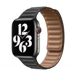 Apple – 44 mm-es fekete bőrpánt – kicsi