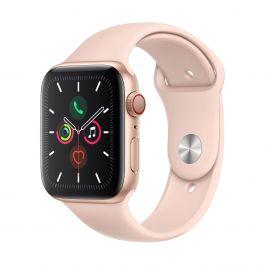 Apple Watch Series 5 GPS + Cellular – 44mm-es aranyszínű alumíniumtok, rózsakvarcszínű sportszíjjal