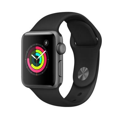 Apple Watch Series 3 - 38 mm-es, Asztroszürke alumíniumtok fekete sportszíjjal