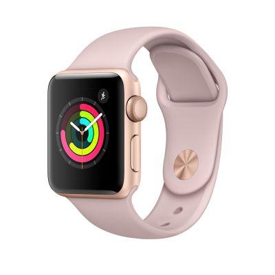 Apple Watch Series 3 - 38 mm-es, aranyszínű alumíniumtok rózsakvarcszínű sportszíjjal