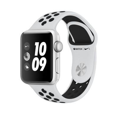Apple Watch Series 3 Nike+ 38-mm-es, ezüstszínű alumíniumtok platinaszín–fekete Nike sportszíjjal