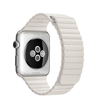 Apple - 42 mm-es fehér bőrszíj – közepes